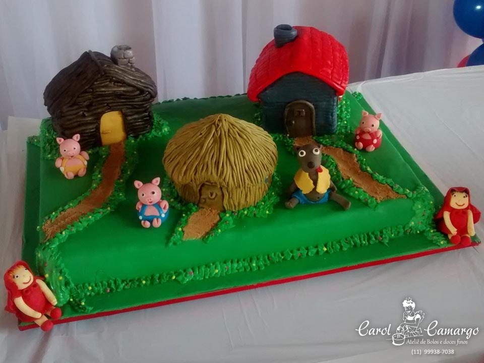 bolo-chapéuzinho-3-porquinhos
